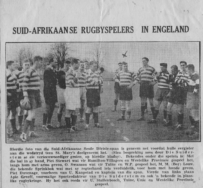 Alfred Hamilton Barry from Robertson plays for 6 Army Div vs England