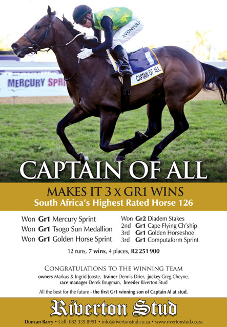 Captain of All makes it 3 Gr 1 wins!