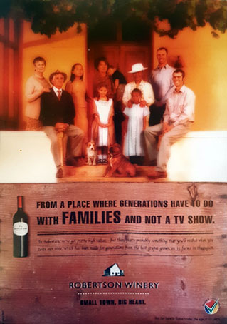 Robertson Winery advert with Barry & Conradie families