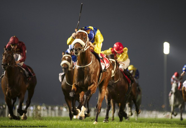 Vercingetorix winning the Gr1 Jebel Hatta photo credit: Dubai Racing Club // Andrew Watkins